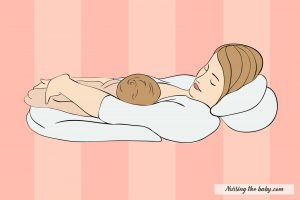 baby on top hold graphic newborn infant mom nursing pillow breastfeeding